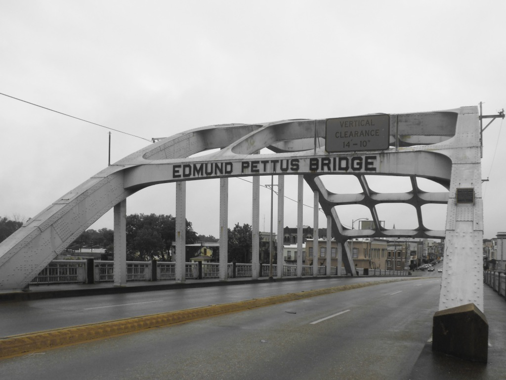Edmund Pettis Bridge in mostly B&W